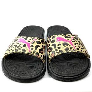 Puma Women's Slides Sandals Cheetah Print Pink 8